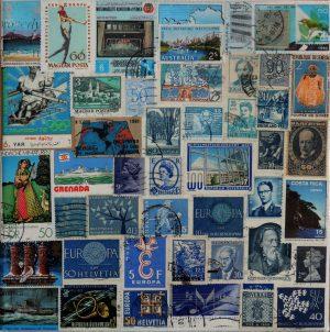 Sabine Jelinkova, Eintönig, Briefmarken auf Leinwand, verso signiert