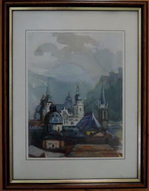 Franz Luby, Salzburg vom Mönchsberg 1942, Aquarell auf Papier gerahmt signiert und datiert