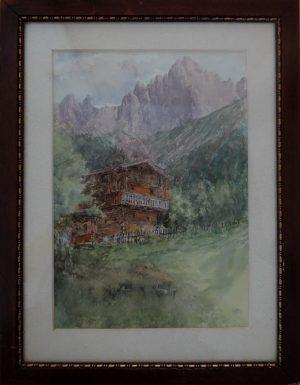 Gerold, Der höchste Bauer, Steiermark, Aquarell mit Passepartout 1925