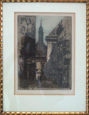 Herta Czoernig-Gobanz, Wien Schönlaterngasse ?, Radierung signiert gerahmt ca. 1920
