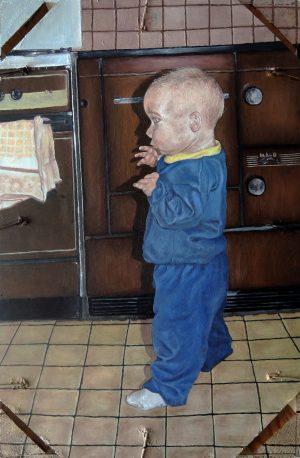 Franz Braun, Selbst als kleines Kind, Öl auf Hartfaserplatte (Obstkiste), 2012 innen signiert
