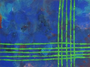 Jungfrau Johanna Artmann, Who is afraid of blue and green?, Verso signiert, Acryl auf Holz