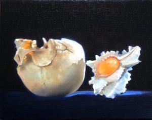 Lubomir Hnatovic, Vanitas mit Muschel, Öl auf Leinwand