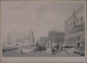 Rudolf Alt, Venedig Dogenpallast mit der Zecca (Münze), Kunstdruck gezeichnet von Rudolf Alt gestochen von Sands ausgeführt durch Black und Armstrong gerahmt