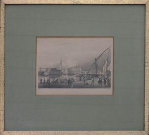 Rudolf Alt, Venedig von der Insel San Giorgio gesehen, Kunstdruck gezeichnet von Rudolf Alt gestochen von Sands ausgeführt durch Black und Armstrong gerahmt
