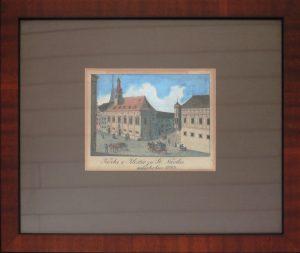 Unbekannt, Kirche und Kloster zu St. Nicolas aufgehoben 1783, Altkolorierte Lithographie gerahmt