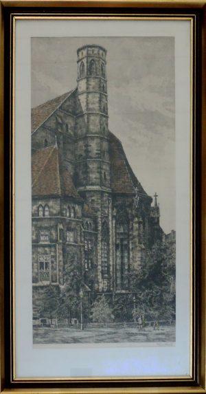 Reinbach, Minoritenkirche Wien 1, Radierung koloriert signiert