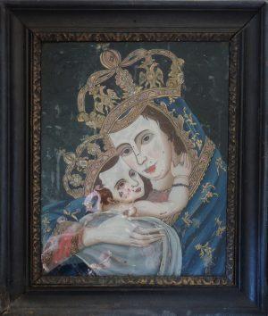 Unbekannt, Maria Mutter Gottes mit Kind, Hinterglasmalerei ca. 1900 gerahmt