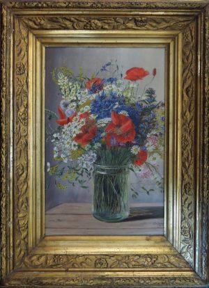 Monogrammist CS, Wiesenblumenstrauß mit Vase, Öl auf Pressspan 1962 gerahmt