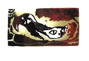 Fred Nowak, Katze Lithographie, signiert nummeriert