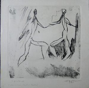 Fred Nowak, Tänzer, Radierung, Vernis mou, Strich und Textur