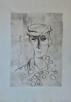 Fred Nowak, Mann mit Kappe 1, hell Radierung 1960 plattensigniert nummeriert