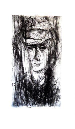 Fred Nowak, Mann mit Kappe 2, dunkel Radierung 1960 signiert nummeriert
