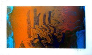 Fred Nowak, Verschlungener Reiter auf blau, Lithographie Probedruck, signiert