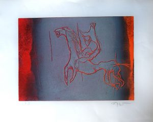 Fred Nowak, Reiter 4 hell, Lithographie 1972 Probedruck signiert