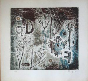 Fred Nowak, Geier zu zweit, Materialdruck 1968 signiert nummeriert 8/50