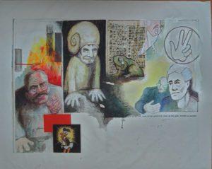 Stephan Pfeffer, Snail man, C-Print und Acryl auf Textil