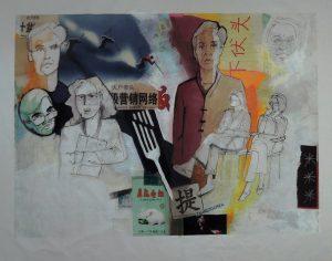 Stephan Pfeffer, Three fork, C-Print und Acryl auf Textil