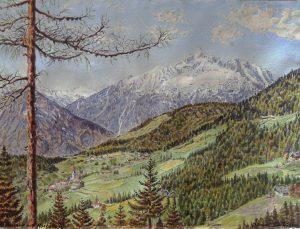 Albert Kontrus, Zwickenberg mit Hochstadl (Kärnten), Aquarell signiert datiert 1936