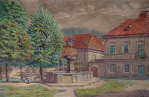 Albert Kontrus, Dorfplatz mit Brunnen, Aquarell signiert datiert 1936