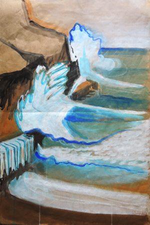 Josef O. Wladar, Strandszene Aquarell auf Papier, undatiert