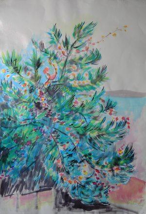 Josef O. Wladar, Baum II Mischtechnik auf Bütten, undatiert
