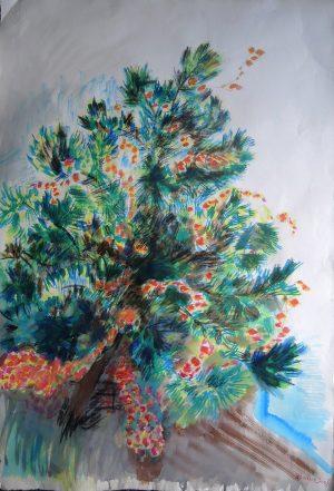 Josef O. Wladar, Baum I Mischtechnik auf Bütten, undatiert