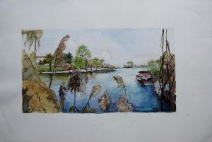 Lieselotte Gluth, Alte Donau Aquarell, betitelt originalsigniert