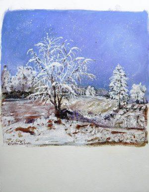 Lieselotte Gluth, Erster Schnee, Mischtechnik betitelt originalsigniert