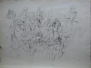 Monogrammist B.M., Portraits, Tusche schwarz originalsigniert