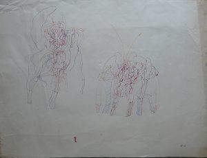 Monogrammist B.M., Zwei Wächter, Tusche mehrfarbig originalsigniert B.M.