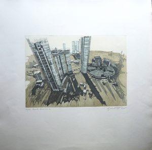 Unbekannt, Uno-City Wien, Blatt 5 Variation 1 Radierung 31/99 signiert