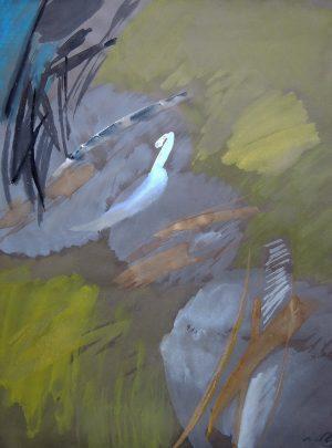 Unbekannt, Wolken 99-77, Aquarell auf grauem Papier signiert