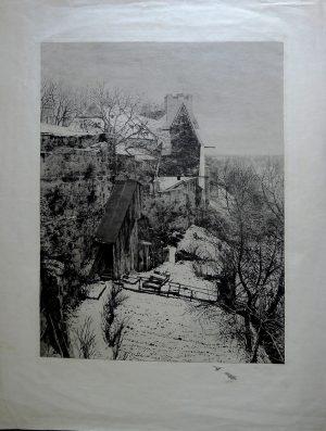 Walter Ziegler 1859-1932, Stadtmauer, Radierung signiert