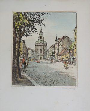 """Herta Czoernig-Gobanz, Alt-Wien Florianikirche 1050 Wien """"Rauchfangkehrerkirche"""", Radierung koloriert, originalsigniert"""