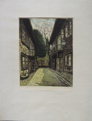J. Pekarek Schuberts, Geburtshaus 1090 Wien Nussdorferstr 54, Radierung koloriert, originalsigniert