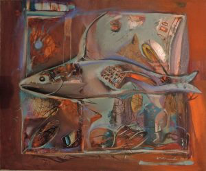 Nikolai Arnaudov, Aquarium, Mischtechnik auf Leinwand, 1993 signiert