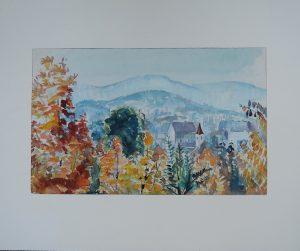 Walter HARNISCH (1906-1988), Lainz vom Küniglberg, Aquarell 1962 betitelt originalsigniert gerahmt