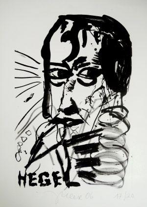 Jonathan Meese, HEGEL (2006), Lithografie17/20,  Handsigniert