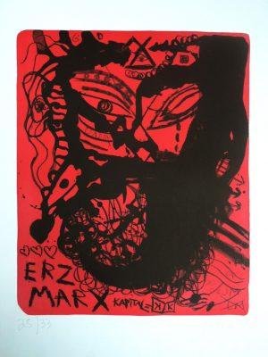 Jonathan Meese, ERZ MARX (2006), Lithographie 28/33, Handsigniert