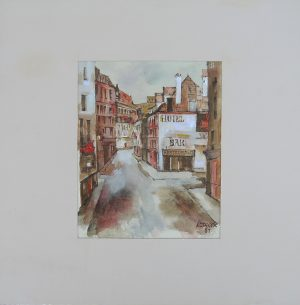 Johann Kopecek, La Rue Aquarell mit Passepartout, signiert und datiert 1981