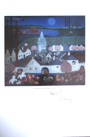 """Gottfried KUMPF, Pannonische Sprichwörter, Plakat zu Original Öl auf Holz, originalsigniert mit """"Herzlichst Kumpf"""""""