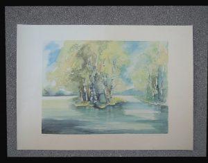 Klara Scholler Aulandschaft mit Birken Lithographie 11/250 mehrfarbig originalsigniert