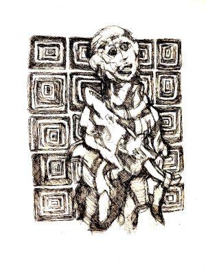 Patrick Mougeot Ohne Titel 2, verso signiert Tinte auf Papier