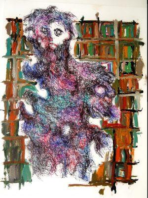 Patrick Mougeot Ohne Titel 5 verso signiert Öl und Tinte auf Papier