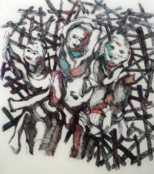Patrick Mougeot Ohne Titel 6, verso signiert Öl und Tinte auf Papier