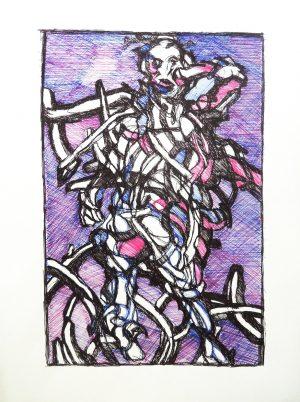 Patrick Mougeot Ohne Titel 4, verso signiert Öl und Tinte auf Papier